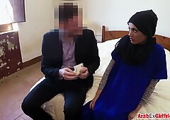 Arab chick hairy pussy beautifully fucked hard by boss with big cock