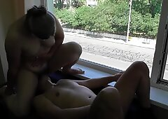Hairy mature facesit and rimming in front of window