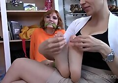 ball-gagged and strapped kittling punishment