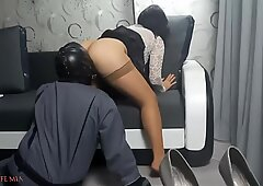 Strict Wife Mia is having fun with a slave