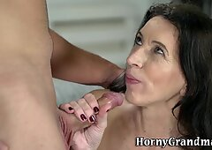 Cock riding old woman