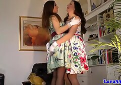 Posh brit milf and teenage playful lesbian fun