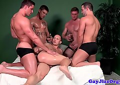 Hunky jocks in group assfucking before cumming