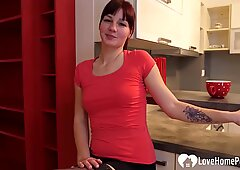 Stepmom teases in stockings while pleasuring herself