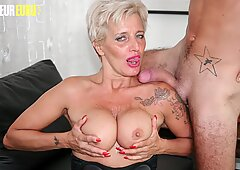 AMATEUR EURO - Delicious Blonde Cougar Goes Hardcore With Young Big Cock Guy (Shadow &amp_ Fabry Horse)